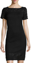 Ming Wang Lace-Inset Knit Sheath Dress, Black