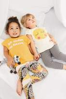 Next Girls Ochre/Cream Smile Legging Pyjamas Two Pack (9mths-8yrs) - Yellow