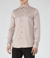 Reiss Reiss Heston - Twill Overshirt In Brown