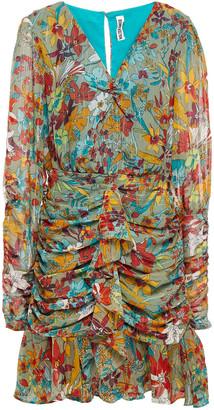Walter Baker Ruched Metallic Floral-print Georgette Mini Dress