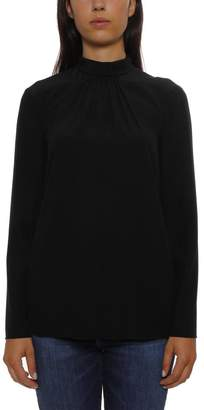 RED Valentino Rouched High-Neck Collar Blouse