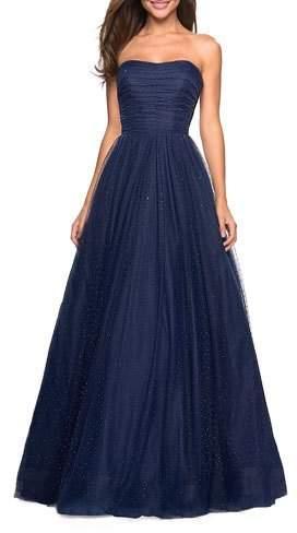52c41c905a64b Navy Strapless Dress - ShopStyle
