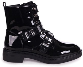 Linzi GODDESS - Black Mirror Patent Military Boot With Velcro Embellished Front Straps