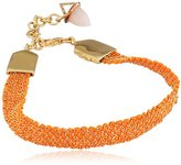 Assya Gold and Neon Orange Weaved Bracelet with Opal Bullet Charm of Length 18cm