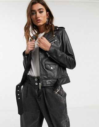 Barneys New York boxy buckle belt leather jacket in black