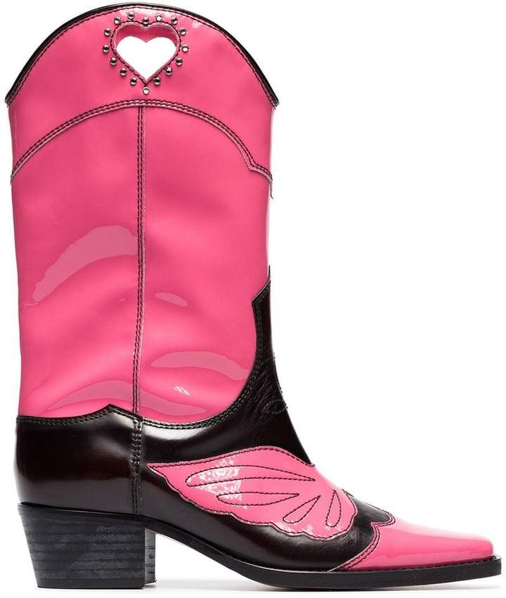 Ganni pink and black marlyn 45 leather cowboy boots