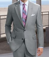 Jos. A. Bank Signature Imperial Wool/Silk Suit with Plain Front Trousers- Light Tan/Grey Sharkskin