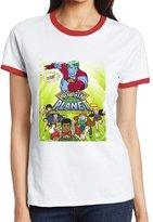 Agongda T-shirts Women's Children's Television Series Captain Planet Color Block T-shirt