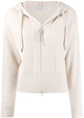 Brunello Cucinelli Ribbed Knit Hooded Cardigan