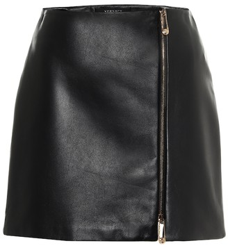 Versace High-rise leather miniskirt