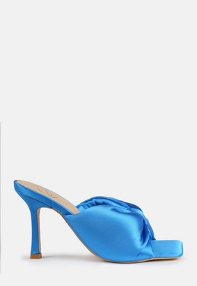 Missguided Blue Satin Bow Front Square Toe Heeled Mule Sandals