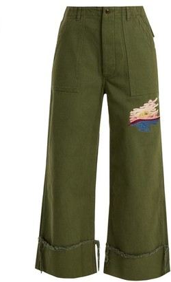 Bliss and Mischief Sunset-embroidered Cropped Cotton-drill Trousers - Womens - Khaki