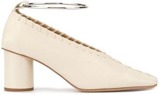 Jil Sander whipstitch block-heel pumps