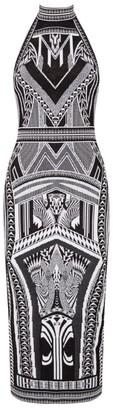 Balmain Halterneck Jacquard Dress