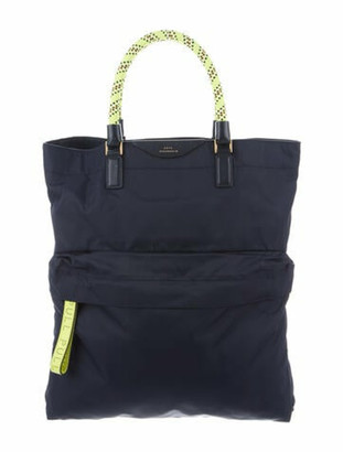 Anya Hindmarch Leather-Trimmed Pull Tote Navy