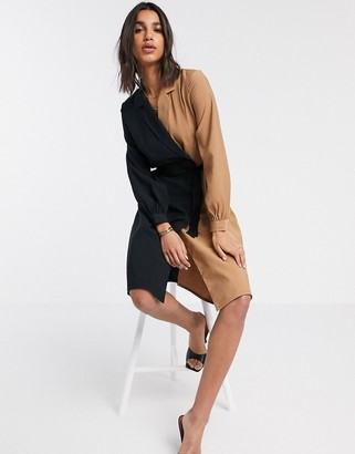 Vero Moda shirt dress in black and tan colourblock