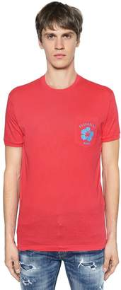 DSQUARED2 PRINTED COTTON JERSEY T-SHIRT W/ POCKET