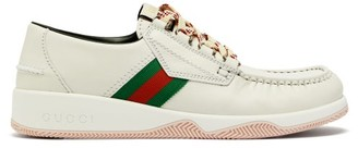 Gucci Agrado Leather Boat Shoes - White