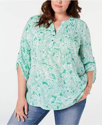 NY Collection Plus Size Paisley Printed Pleated Top