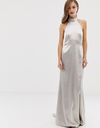 Asos EDITION halter maxi dress with fishtail