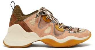 Fendi Panelled Mesh And Suede Trainers - Womens - Nude Multi