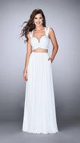 La Femme Charming Sleeveless V-neck Two-piece Long Dress 23940