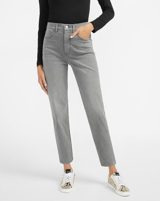 Express Super High Waisted Supersoft Luxe Comfort Gray Mom Jeans