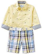Class Club Little Boys 2T-7 Button-Down Shirt and Plaid Shorts Set