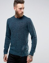 Asos Jumper In Hairy Yarn With Side Zip Detail