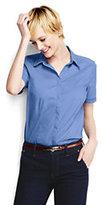 Classic Women's Regular Short Sleeve Lattice Trim Stretch Shirt-Charcoal Dobby