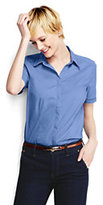 Lands' End Women's Regular Short Sleeve Lattice Trim Stretch Shirt-China Blue