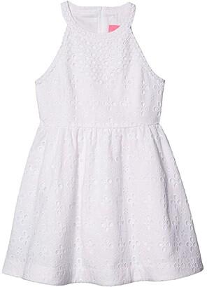 Lilly Pulitzer Little Kinley Dress (Toddler/Little Kids/Big Kids) (Resort White Floral Cross Eyelet) Girl's Dress