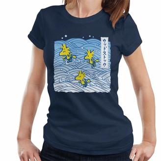 Peanuts Woodstock Japan Waves Women's T-Shirt Navy Blue