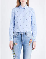 Gucci Striped and embroidered-rabbit patterned cotton-poplin shirt