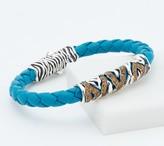 JAI Sterling Silver Leather and Gemstone Tiger Stripe Bracelet