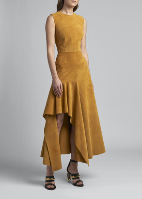 Alexander McQueen Suede Sleeveless Asymmetric Ruffle Midi Dress