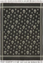 Alexander McQueen Black and Grey Skull Blanket Scarf
