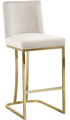 """Foundstone Noah 26"""" Counter Stool Upholstery: Cream, Color: Gold"""