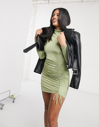 Femme Luxe long sleeve ruched detail mini dress in pistachio