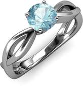 TriJewels Aquamarine Infinity Solitaire Engagement Ring 1.00 ct in 14K White Gold