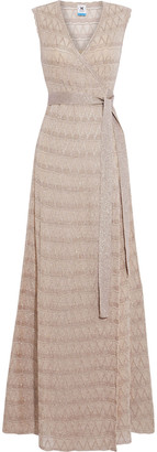 M Missoni Scalloped Metallic Crochet-knit Maxi Wrap Dress