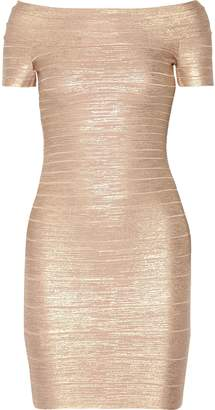 Herve Leger Carmen Off-the-shoulder Metallic Bandage Mini Dress