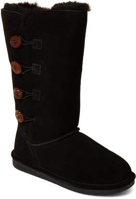 BearPaw Black Lori Real Fur & Suede Boots