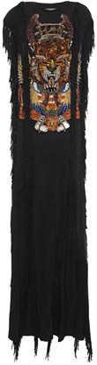 Balmain Fringed Embellished Jersey Maxi Dress