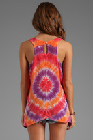 C&C California Light Weight Bemberg Circle Tie Dye Keyhole Back Tank