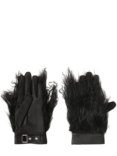 Gareth Pugh Mongolian Fur And Leather Gloves