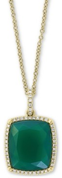 "Effy Green Onyx & Diamond (1/6 ct. t.w.) 18"" Pendant Necklace in 14k Gold"