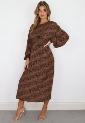 Missguided Brown Leopard Shirred Waist Midi Dress