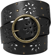 Yours Clothing Black Floral Cut Out Belt With Studs