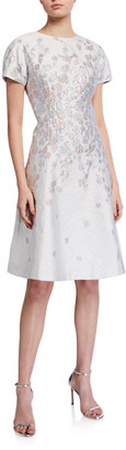 Rickie Freeman For Teri Jon Cap-Sleeve Jacquard Fit-&-Flare Dress